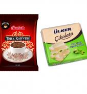 Ülker Kare Antep Fıstıklı Beyaz Çikolata & Ülker Türk Kahvesi
